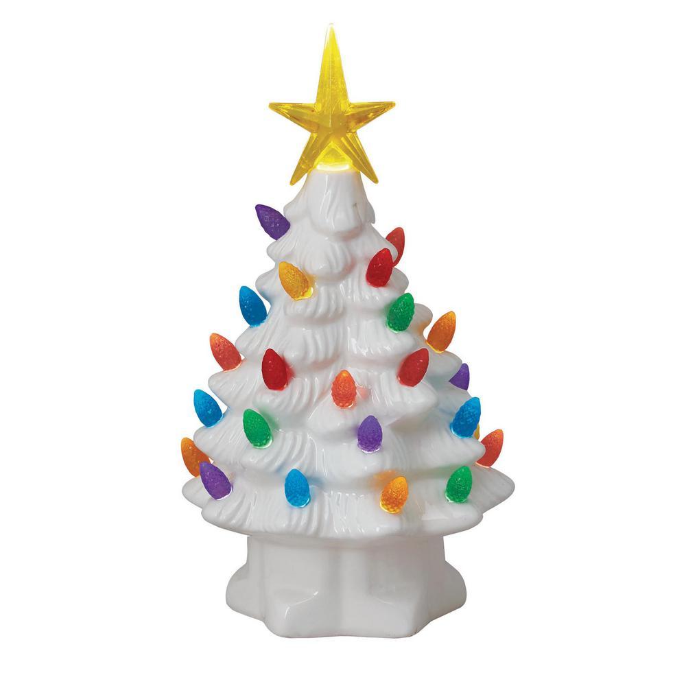 7 in. Christmas Porcelain Nostalgic Tree in White