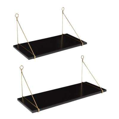 Vista 10 in. x 24 in. x 10 in. Black Decorative Wall Shelf