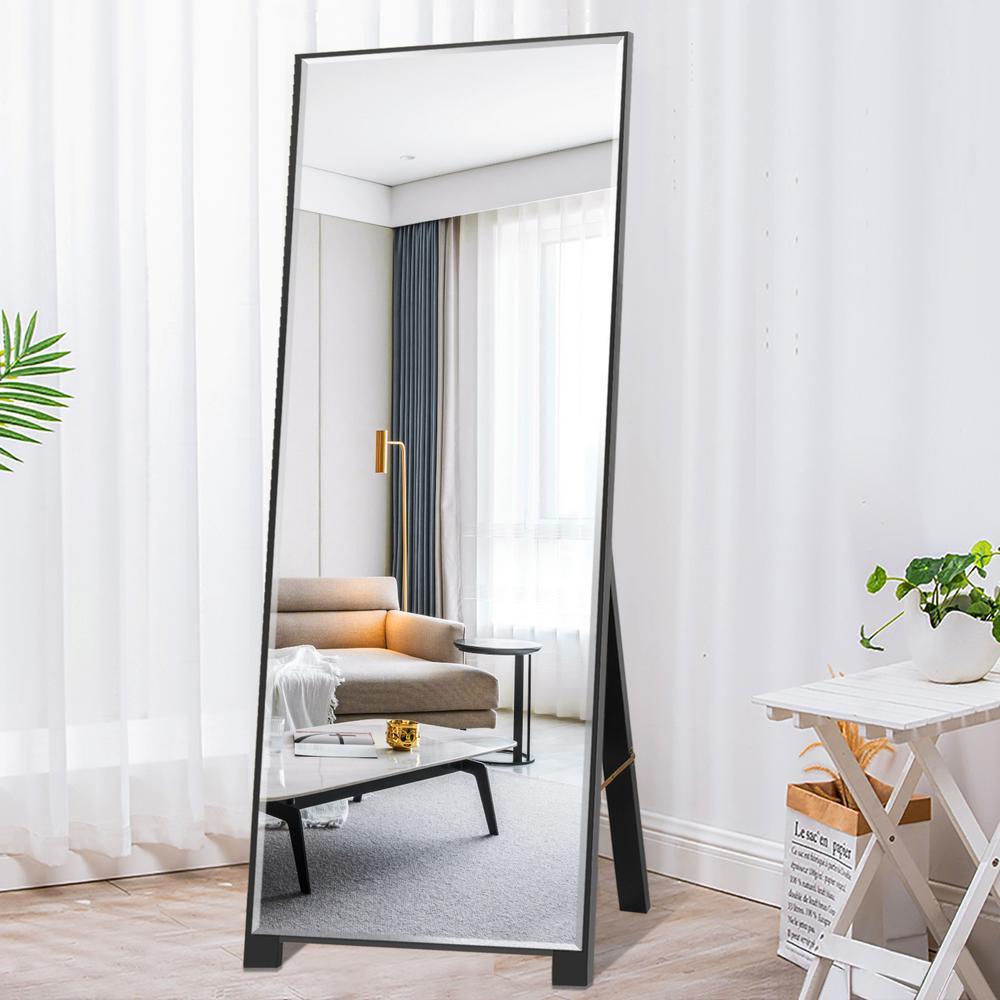 65 in. x 22 in. Modern Rectangle Shape Framed Beveled Glass Black Standing Mirror Full Length Floor Mirror
