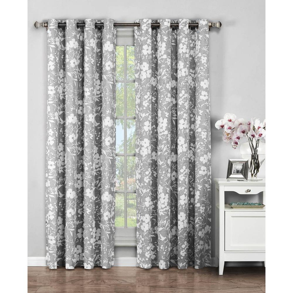 Window Elements Semi-Opaque Florabotanica Printed Cotton Extra Wide 96 in. L Grommet Curtain Panel Pair, Grey (Set of 2)