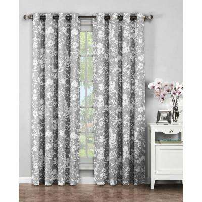 Semi-Opaque Florabotanica Printed Cotton Extra Wide 96 in. L Grommet Curtain Panel Pair, Grey (Set of 2)