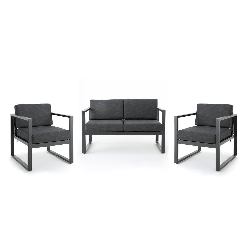 Navan Silver 3-Piece Metal Patio Conversation Set with Dark Gray Cushions