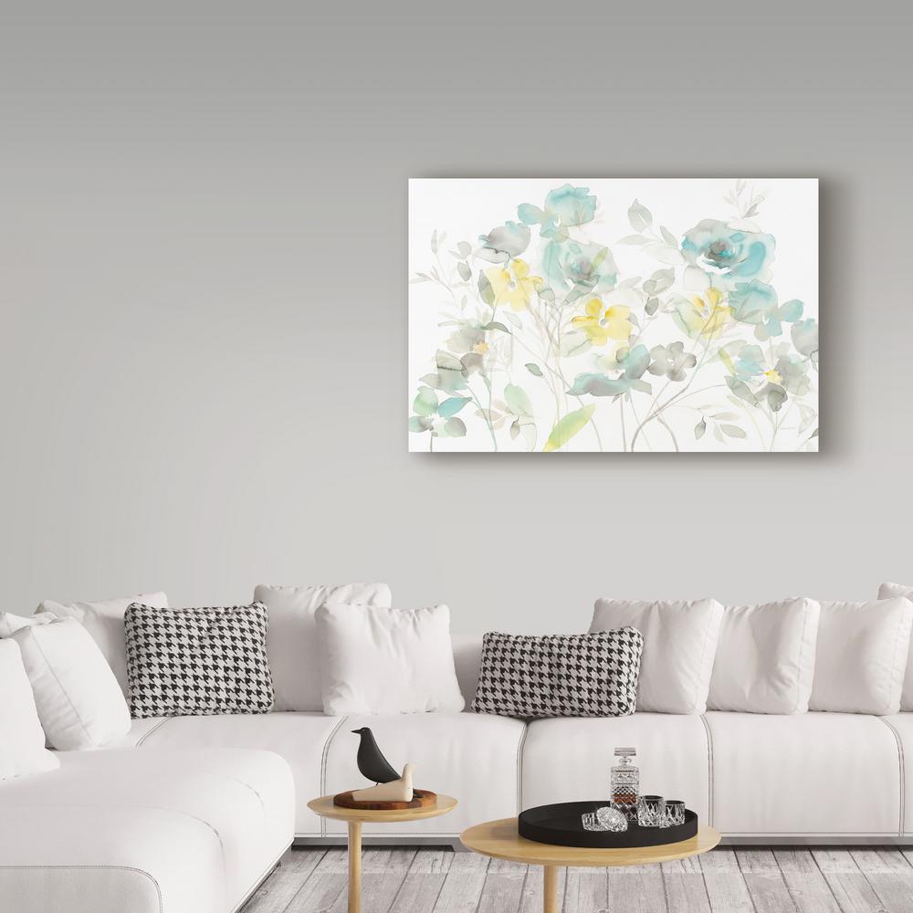 "16 in. x 24 in. ""Aqua Roses Shadows"" by Danhui Nai Printed Canvas Wall Art"