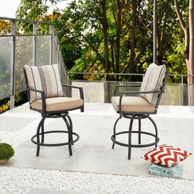 Swivel Metal Outdoor Bar Stool with Beige Cushion (2-Pack)