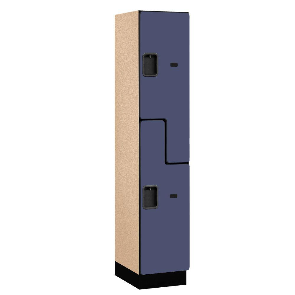 Salsbury Industries 27000 Series 2-Tier 'S-Style' Wood Extra Wide Designer Locker in Blue - 15 in. W x 76 in. H x 18 in. D