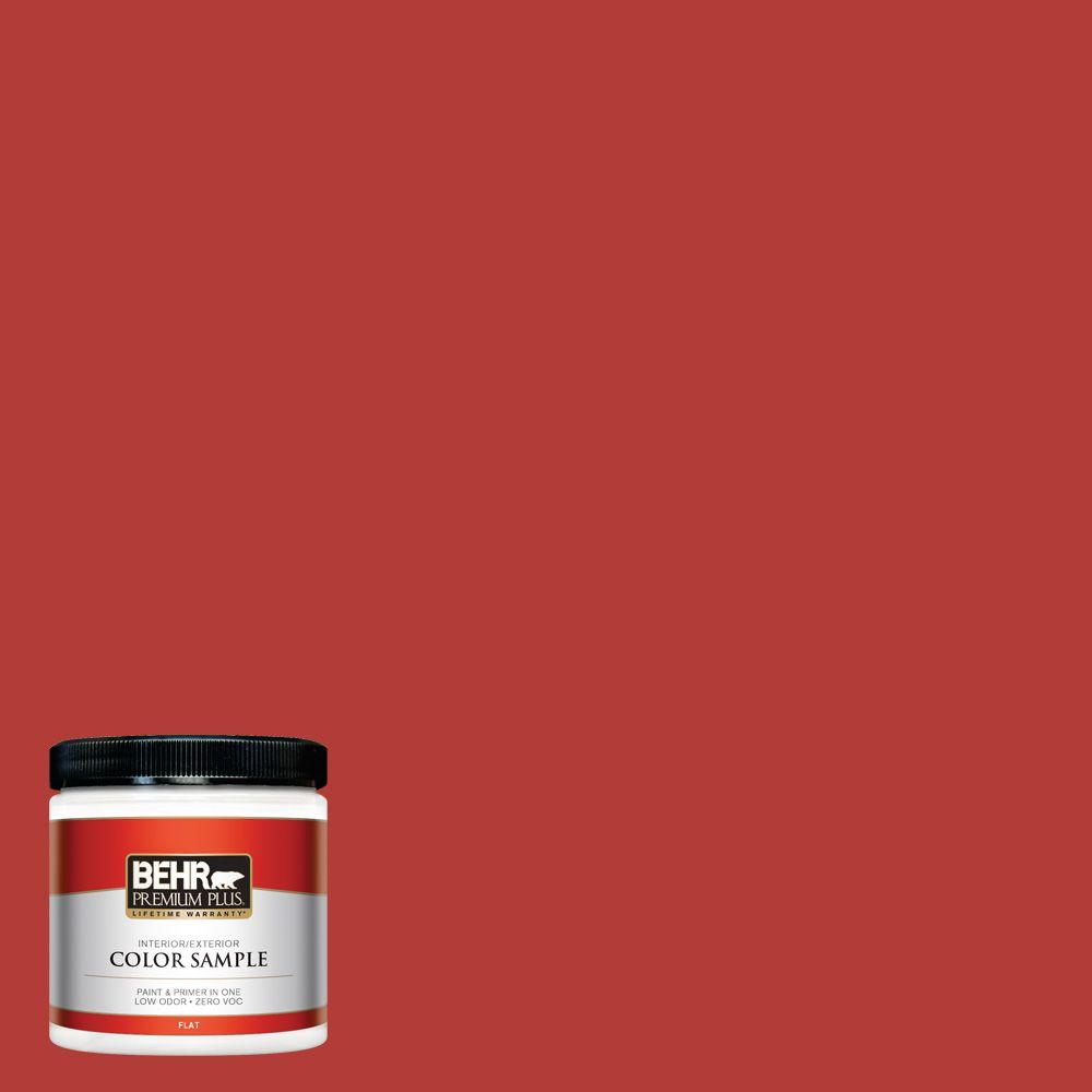 BEHR Premium Plus 8 oz. #170B-7 Red Tomato Flat Zero VOC Interior/Exterior Paint and Primer in One Sample