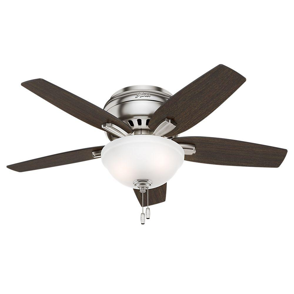 Hunter Newsome 42 in. Indoor Low Profile Brushed Nickel Ceiling Fan with Light Kit Bundled with Handheld Remote Control