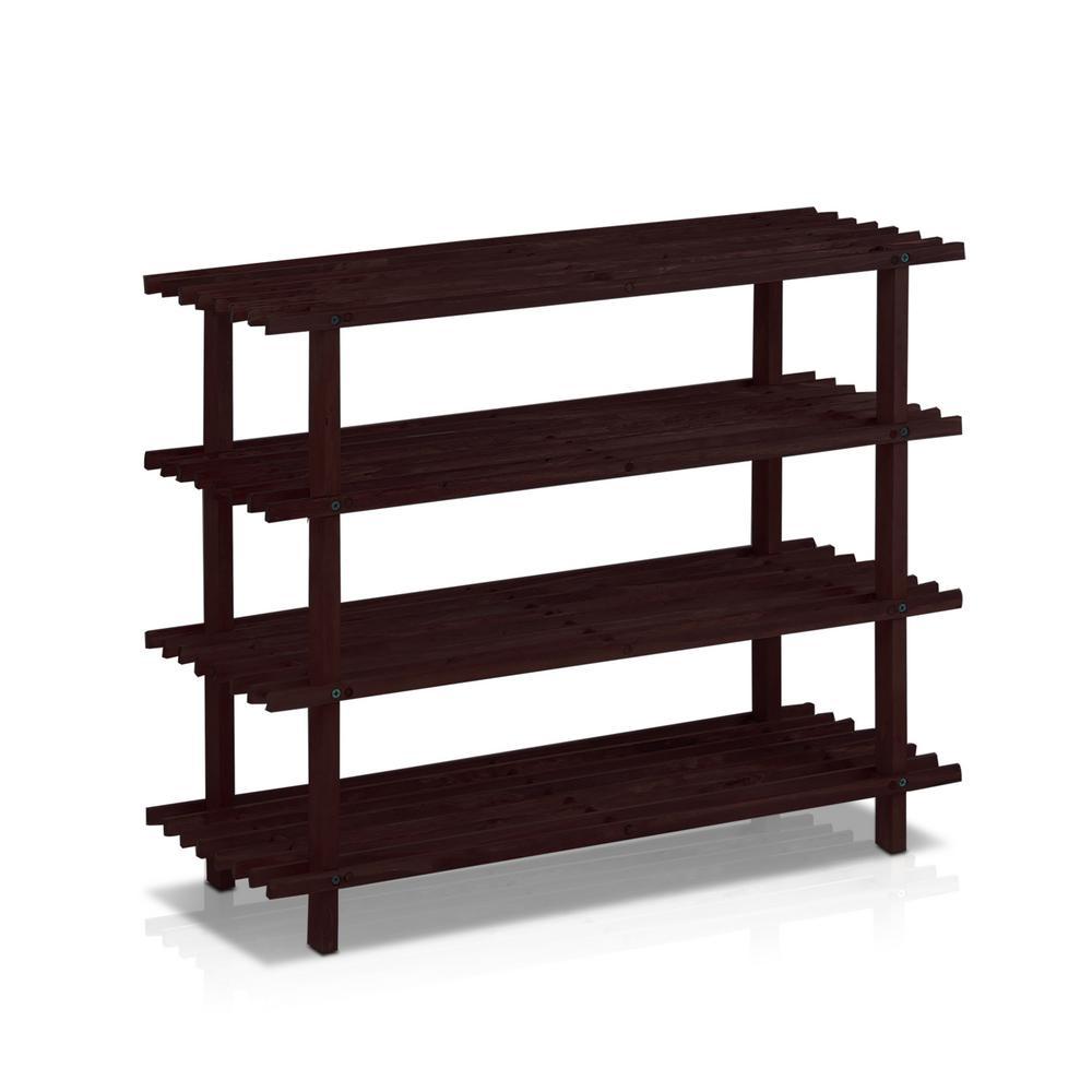 Pine Solid Wood Espresso Color 4-Shelf Multipurpose Rack