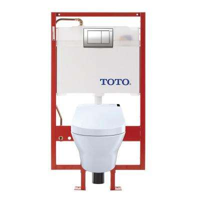 MH Wall-Hung 2-Piece 0.9/1.2 8 GPF Dual Flush Elongated Toilet with Copper Supply and 200 Wash let in Cotton White