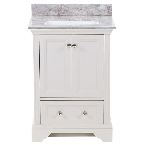 25 in. W x 22 in. D x 38 in. H Bath Vanity in Cream with Stone Effect Vanity Top in Winter Mist with White Sink