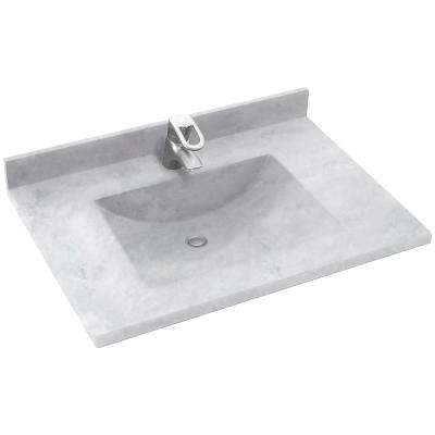 Contour 37 in. W x 22 in. D Solid Surface Vanity Top with Sink in Ice