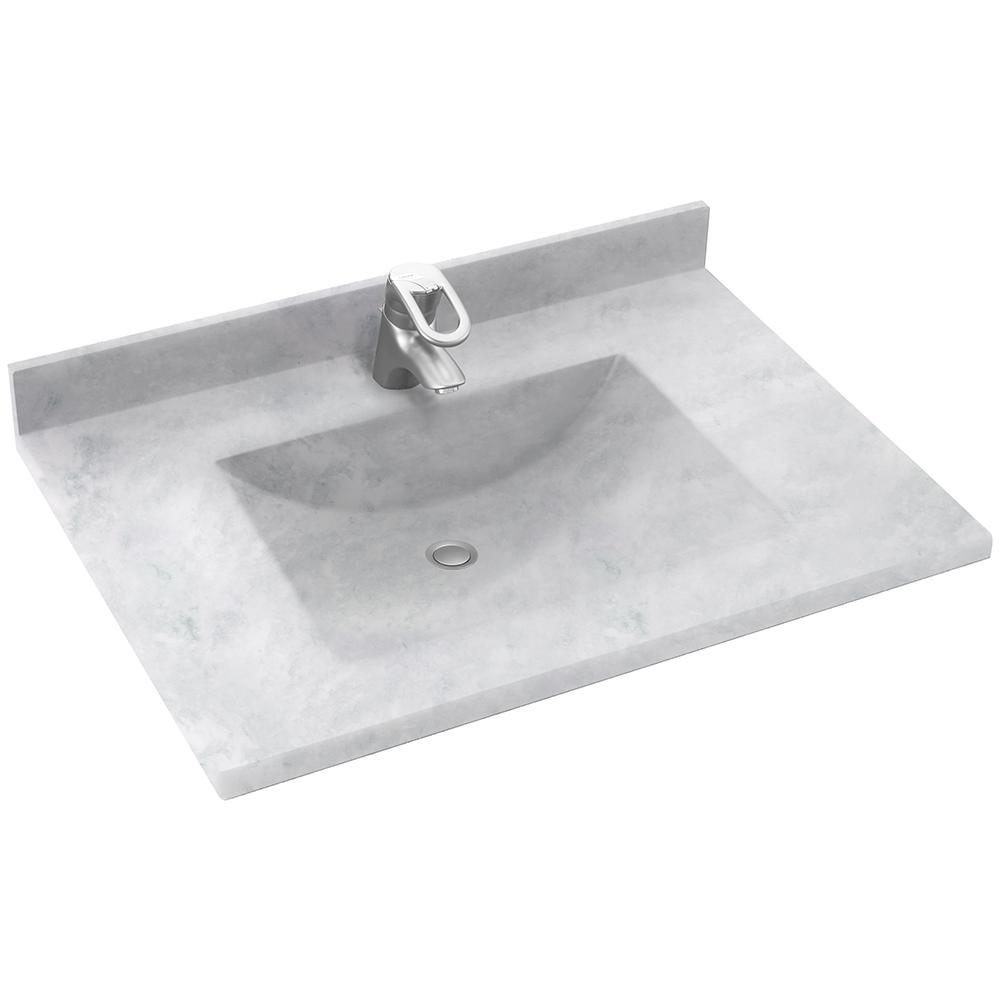 Solid Surface Vanity Tops With Sink : Swan contour in w d solid surface vanity top