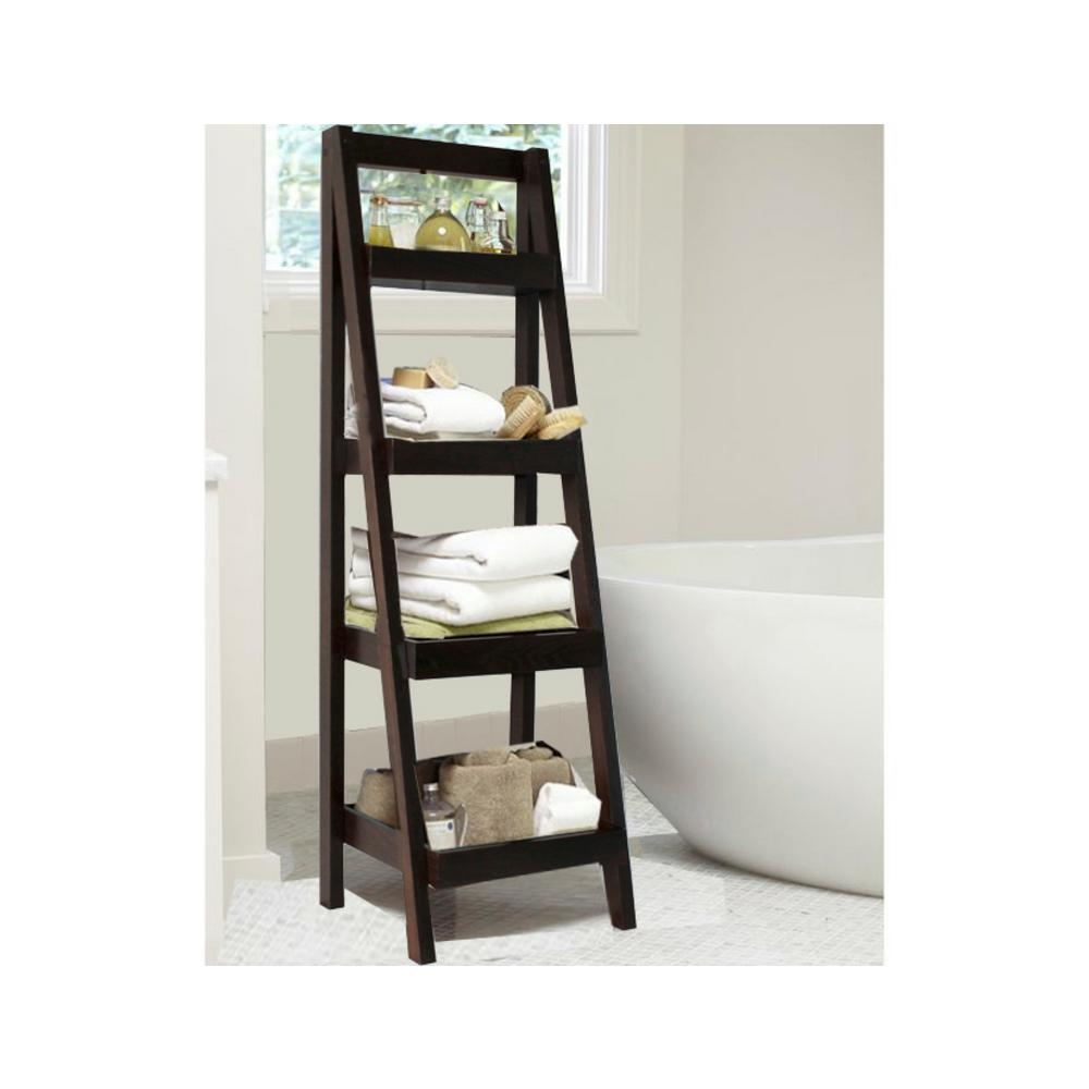Unbranded Bathroom Storage Ladder In Walnut Brl3000bw The Home Depot