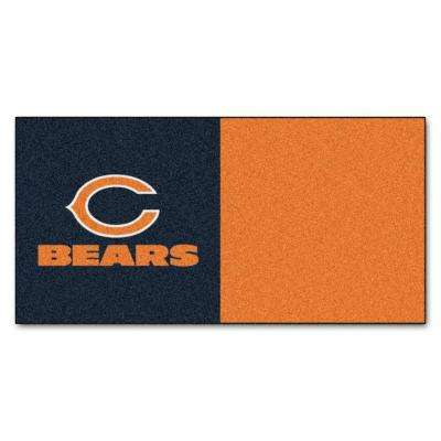 NFL - Chicago Bears Orange and Blue Nylon 18 in. x 18 in. Carpet Tile (20 Tiles/Case)