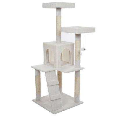 50.25 in. White Penthouse Sleep and Play Cat Tree