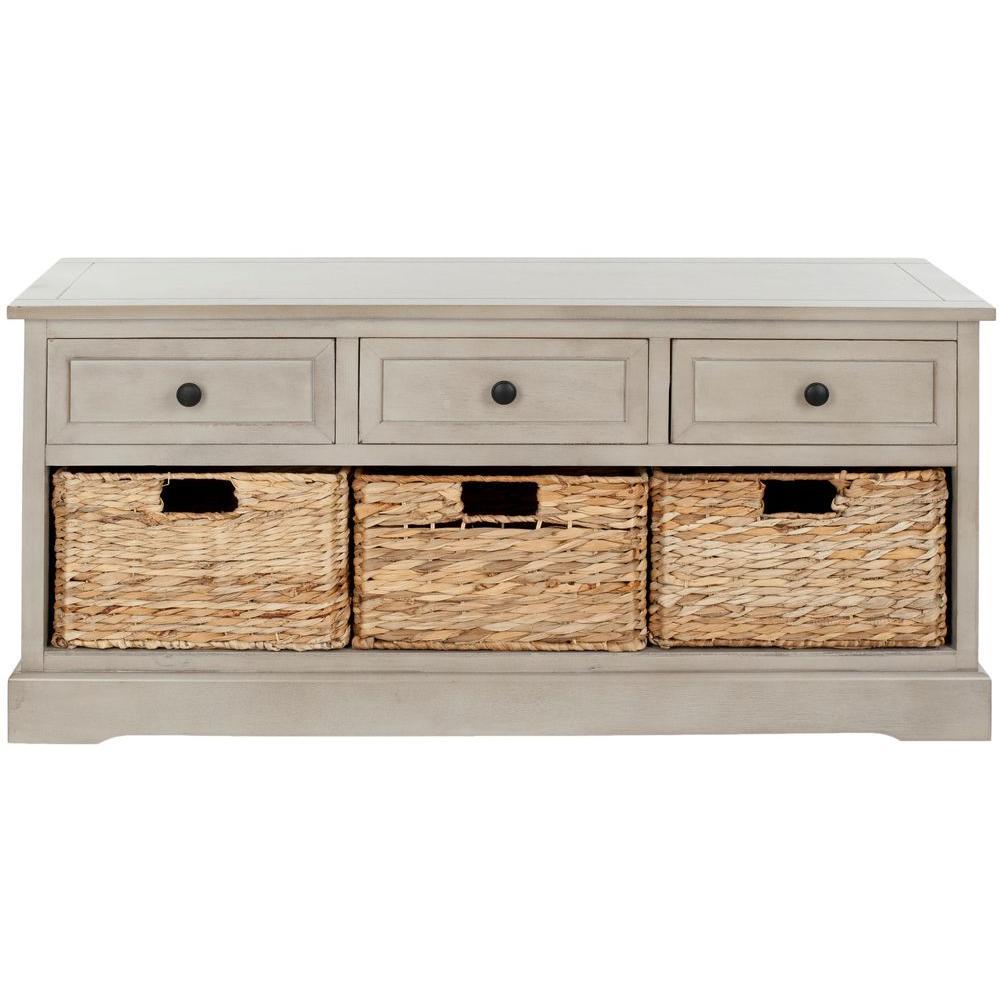 Damien 3-Drawer Wood Storage Unit in Vintage Grey