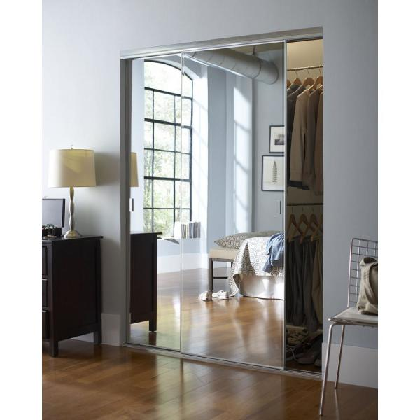 Contractors Wardrobe 59 In X 80 In Trim Line Beveled Mirror Bright Clear Finish Aluminum Interior Sliding Door Tln 5980bcl2r The Home Depot