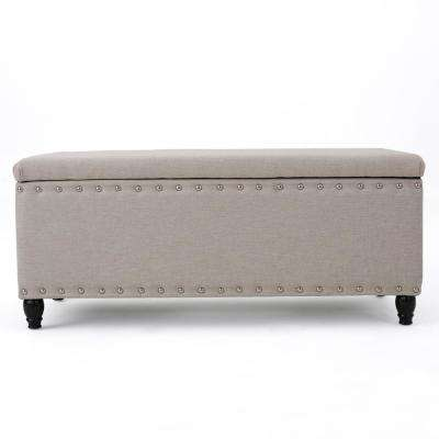 Tatiana Wheat Beige Fabric Storage Bench