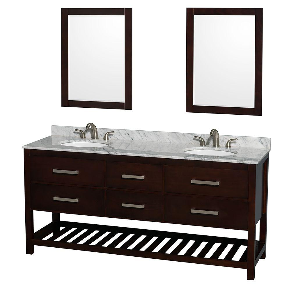 Wyndham Collection Natalie 72 in. Double Vanity in Espresso with Marble Vanity Top in White Carrara, Under-Mount Sinks and 24 in. Mirrors