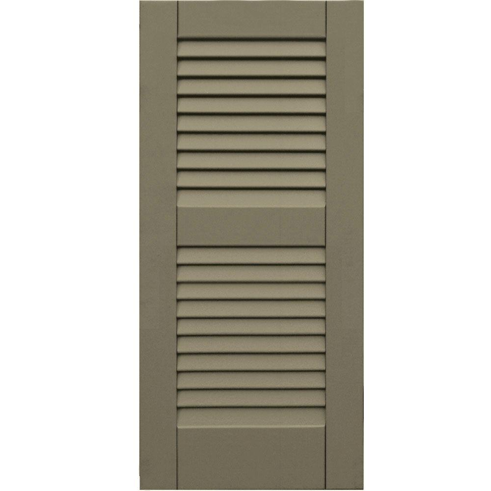Winworks Wood Composite 15 in. x 33 in. Louvered Shutters Pair #660 Weathered Shingle
