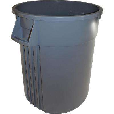 32 Gal. Grey Round Heavy-Duty Trash Can