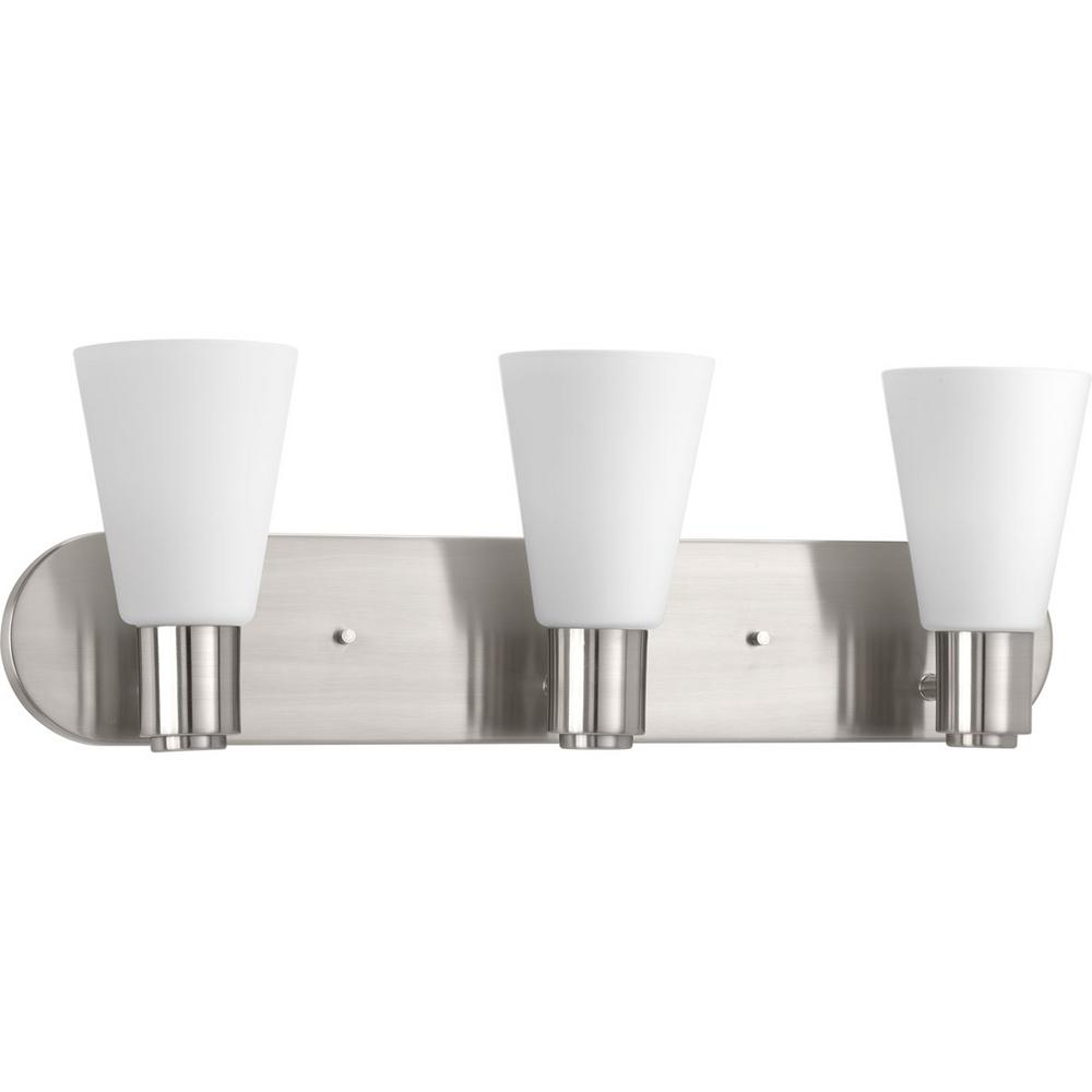 Progress Lighting Logic Collection 3-Light Brushed Nickel Bathroom Vanity Light with Glass Shades