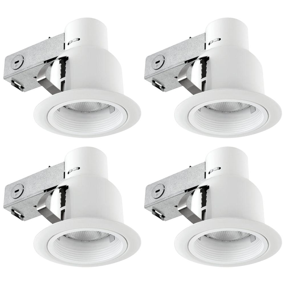 White Recessed Outdoor Baffle Lighting Kit Flood-Light (4  sc 1 st  The Home Depot & Globe Electric 4 in. White Recessed Outdoor Baffle Lighting Kit ... azcodes.com