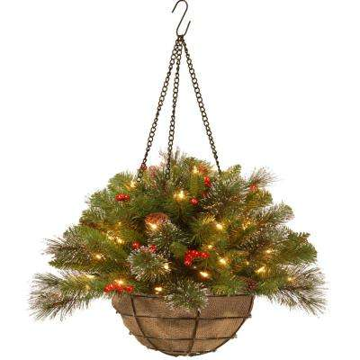 20 in. Crestwood Spruce Hanging Basket with Battery Operated Warm White LED Lights