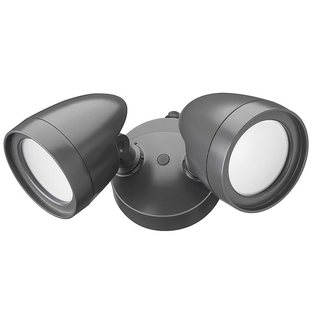 2- Head Dark Bronze Outdoor Integrated LED Security Flood...