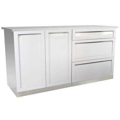 3-Piece 66 in. x 36 in. x 24 in. Stainless Steel Outdoor Kitchen Cabinet Set with Powder Coated Doors in White