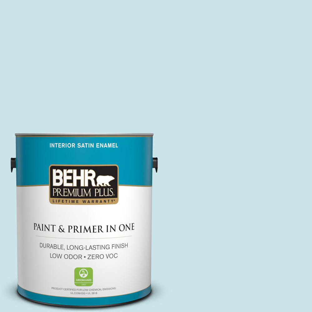 BEHR Premium Plus 1-gal. #M470-1 Snowmelt Satin Enamel Interior Paint