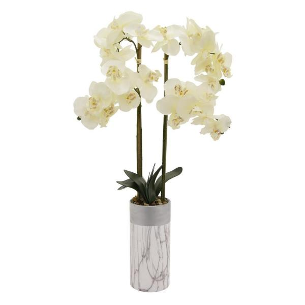 THREE HANDS 33 in. Faux Orchid Flower Pot in White