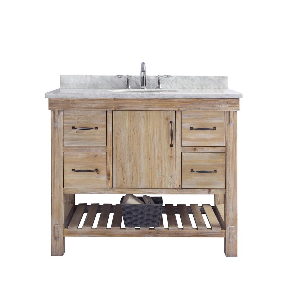 Single Vanity In Driftwood With Marble Top Carrara White