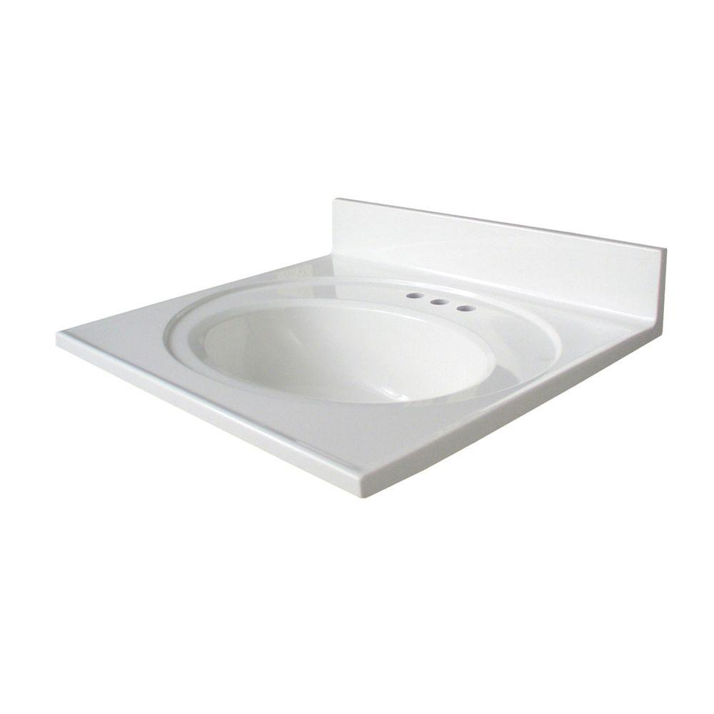 Newport 25 in. AB Engineered Composite Vanity Top with Basin in