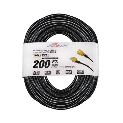 200 ft. 10/3 SJTW 15 Amp 125-Volt 1875-Watt Lighted End Indoor/Outdoor Black Heavy-Duty Extension Cord