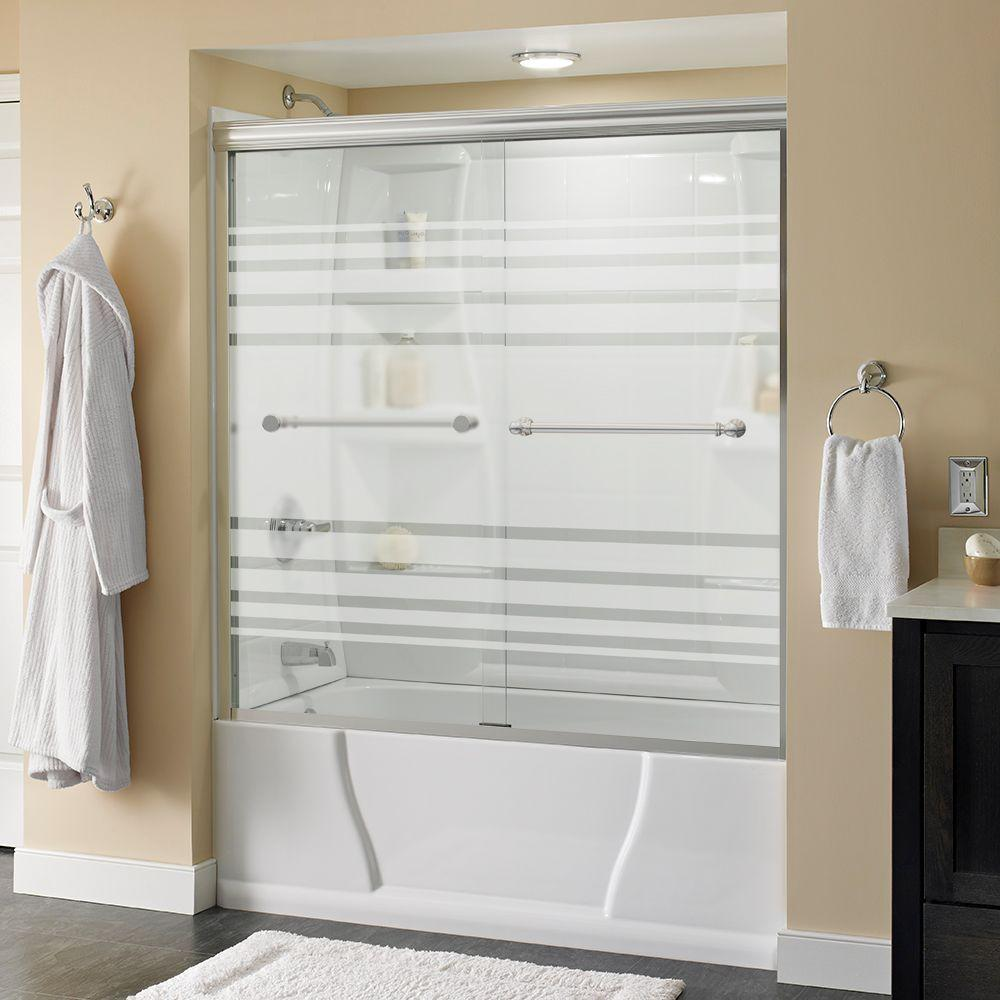 Delta Silverton 60 in. x 58-1/8 in. Semi-Frameless Traditional Sliding Bathtub Door in Chrome with Transition Glass