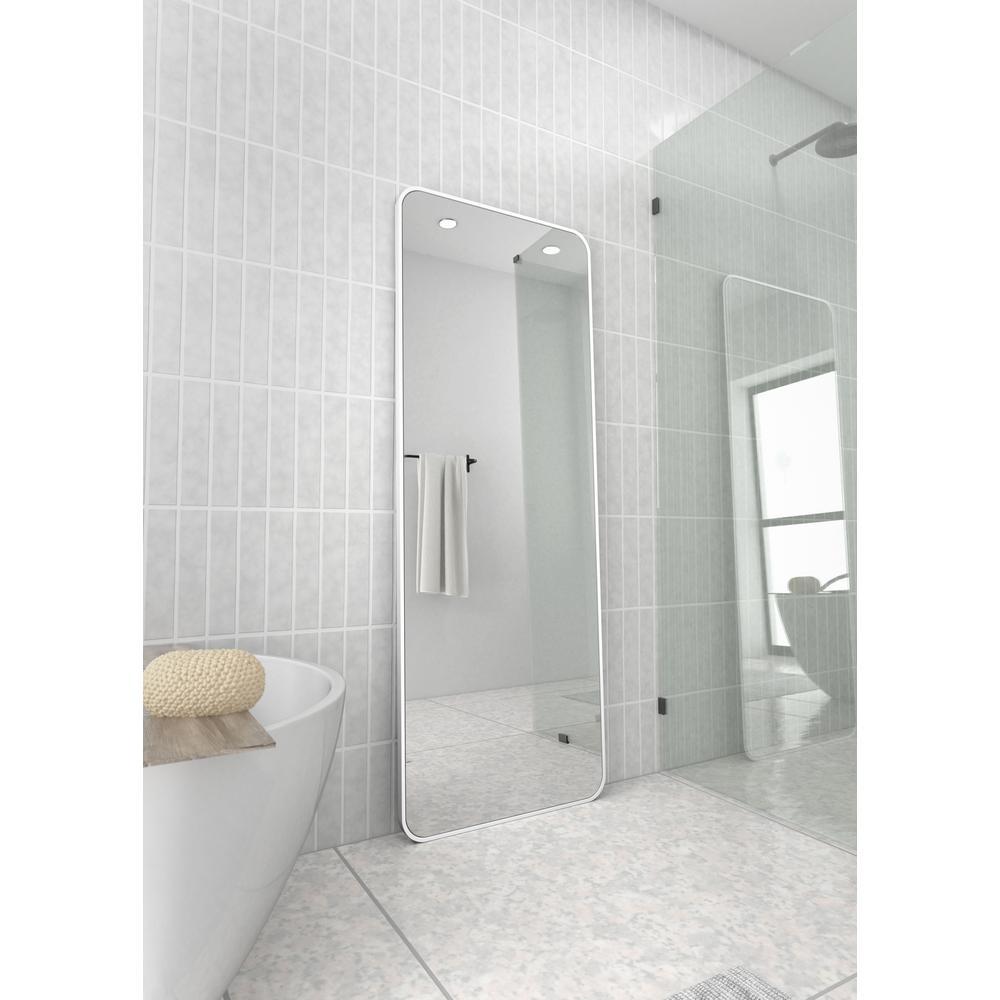 24 in. W x 67 in. H Framed Radius Corner Stainless Steel Mirror in White