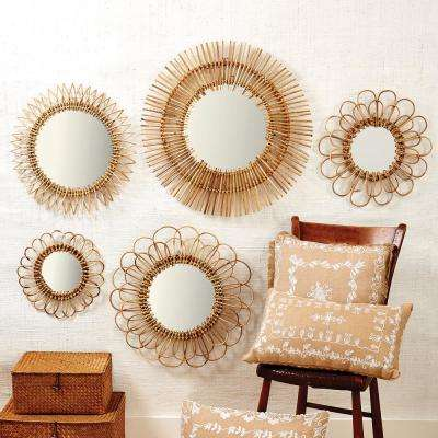 Natural Round Rattan Decorative Wall Mirror Set (Set of 5)