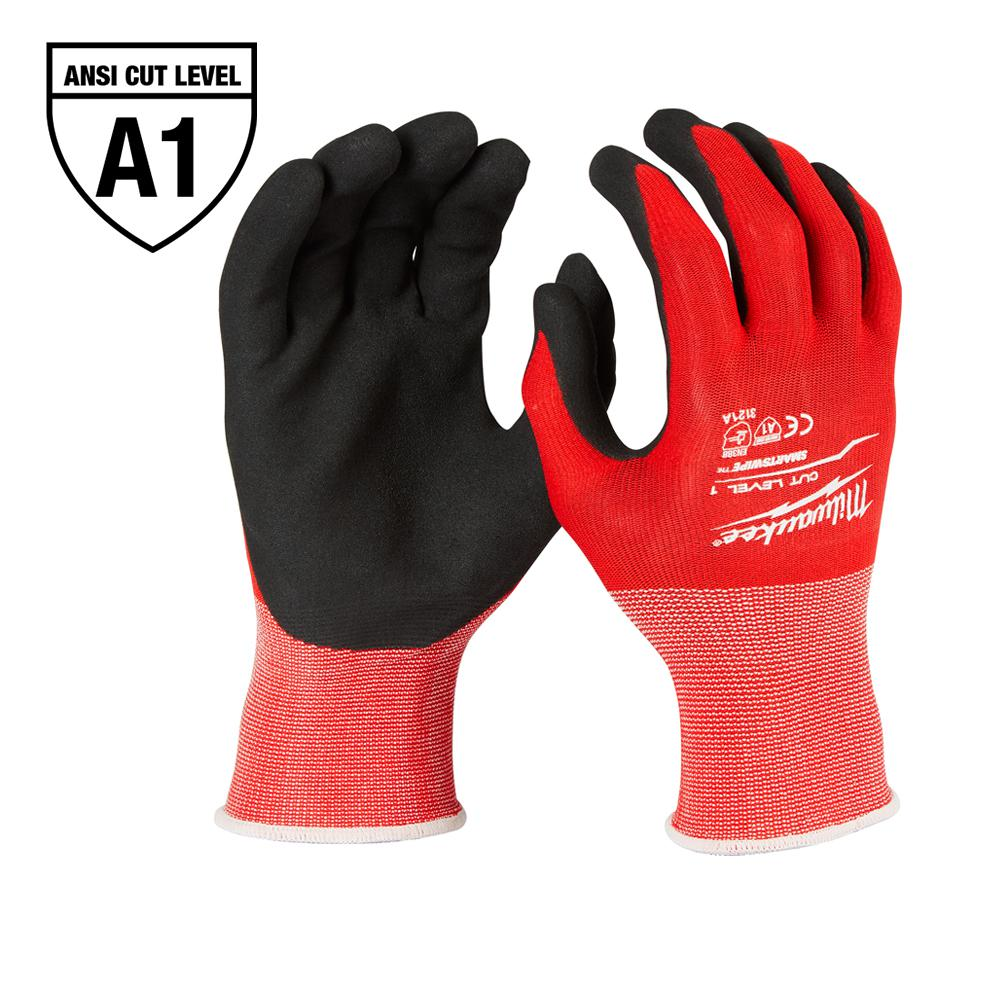 Milwaukee Large Red Nitrile Level 1 Cut Resistant Dipped Work Gloves
