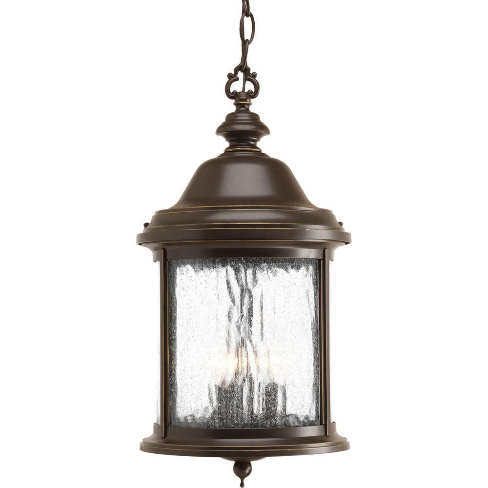 Progress Lighting Ashmore Collection 3-Light Outdoor Antique Bronze Hanging Lantern