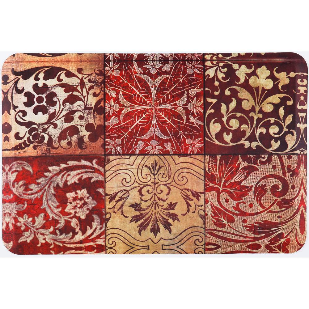 Designer Chef Red Mosaic 18 in. x 30 in. Anti-Fatigue Kitchen Mat