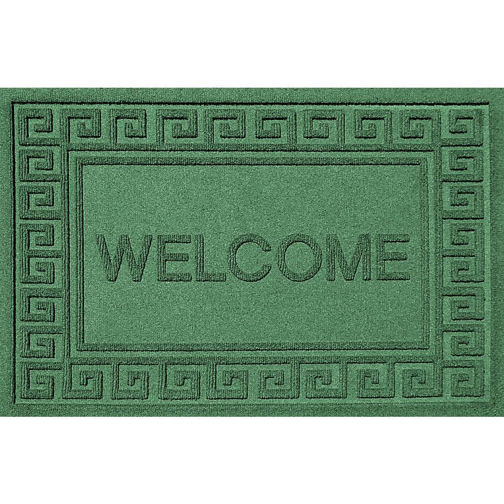 Greek Welcome Light Green 24 in. x 36 in. Polypropylene Door Mat