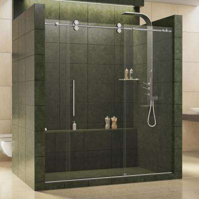 Enigma 68 in. to 72 in. x 79 in. Frameless Sliding Shower Door in Polished Stainless Steel and 1/2 in. Exclusive Glass