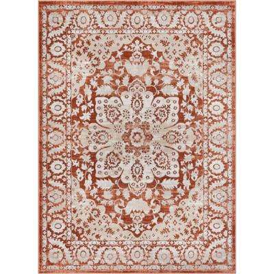 Hughes Achilles 5 ft. x 7 ft. Traditional Oriental Antique Look Medallion Copper Area Rug
