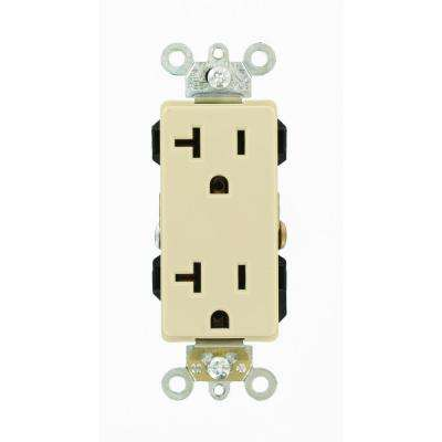 Decora Plus 20 Amp Industrial Grade Heavy Duty Self Grounding Duplex Outlet, Ivory