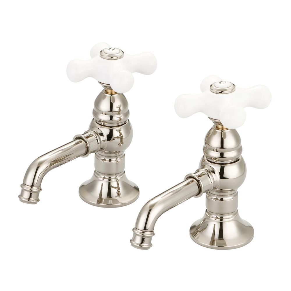 Water Creation 8 in. Widespread 2-Handle Basin Cocks Bathroom Faucet in Polished Nickel PVD