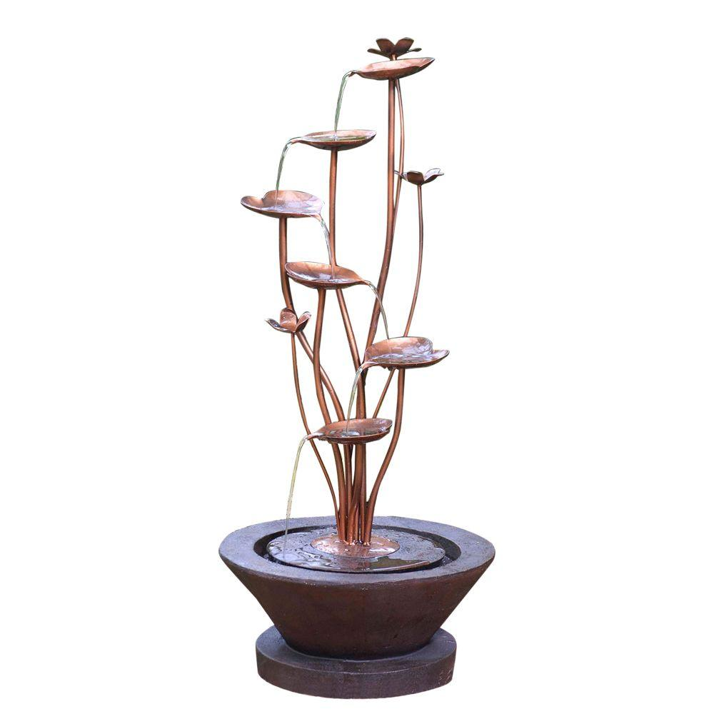 Outdoor Water Fountains Home Depot: Fountain Cellar Acqua Di Loto Lotus Outdoor Fountain