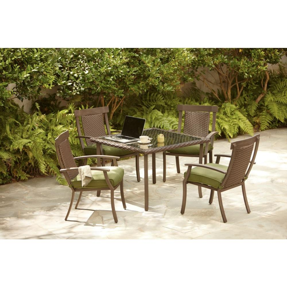 Hampton Bay Bloomfield Woven 5-Piece Patio Dining Set with Moss Cushions