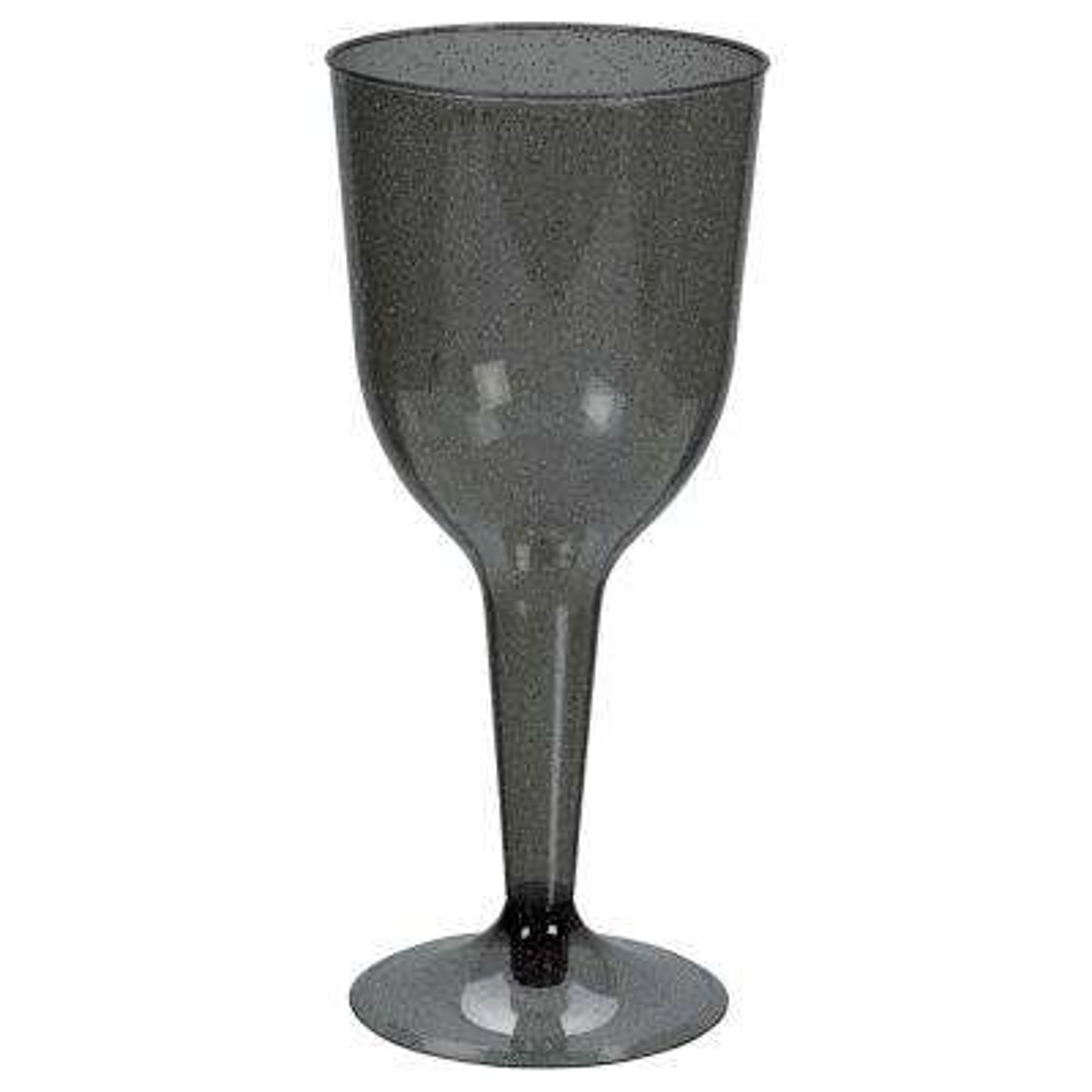 3 in. x 6.75 in. 10 oz. Silver Glitter Plastic Halloween Wine Glasses
