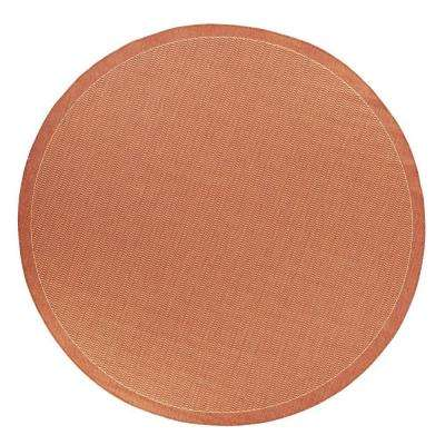 Saddlestitch Terracotta/Natural 9 ft. x 9 ft. Round Area Rug